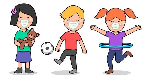 ninos-jugando-mascara-medica_23-2148506984